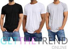 3x Mens Plain Tshirt Men's Multipack Black White Grey Crew Neck Basic Tee Shirts