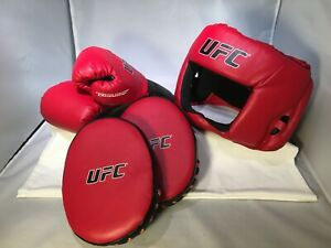 UFC MMA BOXING SPARING SET 3 PIECE HEAD GEAR PUNCH PADS GLOVES 6 OZ NEVER USED