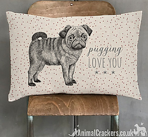 'Pugging LOVE YOU' 40cm Cushion from East of India Valentines or Pug lover gift
