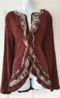 Womens Joe Browns Bugundy Floral Ruffle Buttons Tie Chest Fine Knit Cardigan 18.