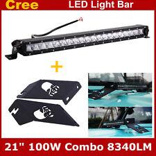 21inch 100W LED Light Bar SLIM+Hood Mounting Bracket 07-19 For Jeep Wrangler JK