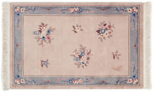Teppich Aubusson ca. 120x185 cm | Lachs Grau | Schurwolle | handgeknüpft