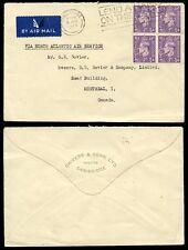 GB Kg6 1948 blocco franking al Canada Airmail... CHIVERS JAM Pubblicità patta + PERFIN