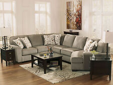 NEW Modern Gray Fabric Living Room Sectional 4 piece Sofa Couch Cuddler Set IG0Y