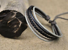 COOL Surfer Multi Hemp Leather Bracelet Wristband Handmade Adjustable