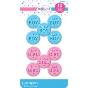 Gender Reveal Baby Shower Team Girl & team Boy Badge Favours x 10