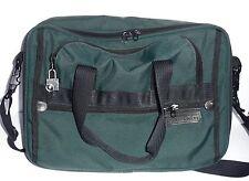 Briggs Riley Green Ballistic Nylon Black Leather Laptop Messenger Bag W/Lock