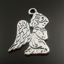 32539 Antique Style Silver Tone Alloy Cute Angel Charm Pendant Decor 50pcs