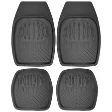 Car Floor Mats for All Weather Rubber 4pc Set Pan Tech Fit Heavy Duty Black