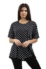 Ladies Round Neck Polka Dot T-Top UK Plus Sizes 12-26 Loose Baggy Boho Spots