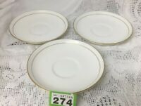 "Set Of 3 ROYAL WORCESTER 'VICEROY' GOLD On White 6.5"" Saucer For Teacups"