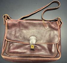Vintage Coach 300 Burgundy Leather Crossbody Purse Briefcase Laptop Bag Turnlock