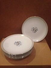 """Meito China Set of 7 Bread Plates 6.5"""" turquoise flowers gray bands platinum rim"""