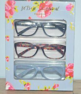 BETSEY JOHNSON 3 Pair Reading Glasses Black Tortoise Blue Readers