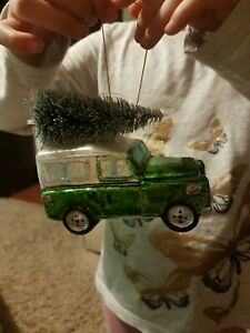 Green Land Rover Christmas tree hanging decoration bauble glass ornament 12cm 🌲