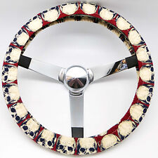 Handmade Steering Wheel Cover Red Skulls