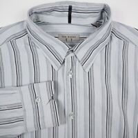 Ted Baker London Men's Size 5 Gray Striped Button Up Long Sleeve Shirt