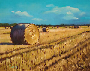 """Giclee fine art print of oil painting rolled up dry straw, landscape 11""""×14"""""""