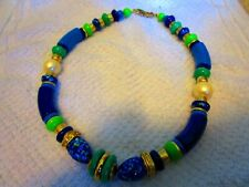 """16"""" Varied GREEN & BLUE Colors with Faux Pearls Gold Toned Necklace"""