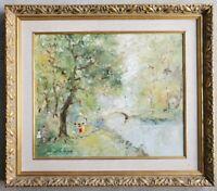 Original Oil Painting Forest Landscape Arch Bridge Vintage French Impressionist