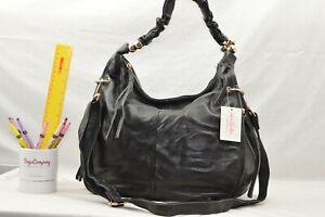GENUINE LEATHER - NEW - Jane Shilton Designer X-body Shoulderbag Handbag - BLACK