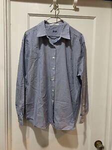 Foxcroft 14 Wrinkle Free Blue Stripe Button Shirt 5740