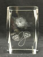 Roses Hearts And Pearls Love Crystal Glass 3D Laser Etched Hologram Paperweight