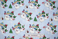 """31"""" Remnant Playful Snowmen Glitter Holiday Christmas Winter Cottton Fabric (A3)"""