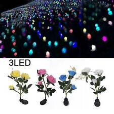 3 LED Solar Power Rose Flower Stake Lights Outdoor Garden Path Luminous Lamps