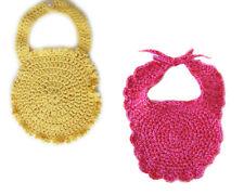 New Kss Hand Crocheted Rose & Yellow Colored Cotton Baby Bibs Bi-008