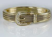 Designer Style Crystal Buckle Gold Hinged Rope Bangle Bracelet Fashion Jewelry