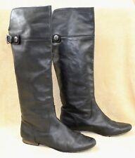 "Coach ""Benita"" Tall Riding Boots Knee-high Black Leather Women 10B Lite Distress"