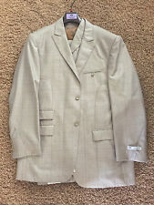 Testardi Men Suit, Wool Blend Italian 3 Piece Suit, Intricate Top Stitching 46L