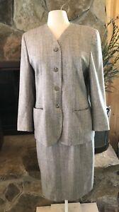 Pendleton Petite Skirt Suit Size 12 Herringbone Blue & Cream
