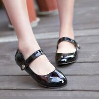 Women Solid Patent Leather Ankle Strap Mary Jane Buckle Flat Heel Shoes All Size