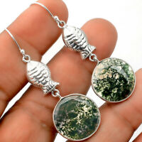 Fish - Moss Agate - India 925 Sterling Silver Earrings Jewelry SDE27612