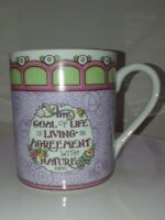 "Mary Engelbreit Cup Mug 2001 ""The Goal of life is living in agreement with..."""