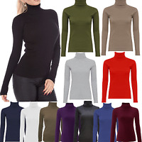 LADIES RIBBED POLO NECK TOP JUMPER TURTLE ROLL NECK WOMEN FULL SLEEVE PLAIN TOP