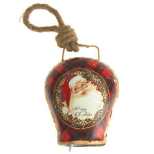 Hanging Tin Bell Merry Christmas Santa Christmas Ornament, Red, 5-Inch