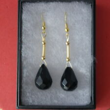 Beautiful Gold Plated Earrings With Faceted Onyx Gem 7.8 Gr.4.3 Cm. Long + Hooks