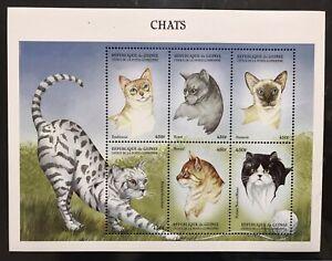 GUINEA CATS STAMPS SHEET 9V 1999 MNH FELINE SIAMESE PERSIAN BENGAL KORAT PET