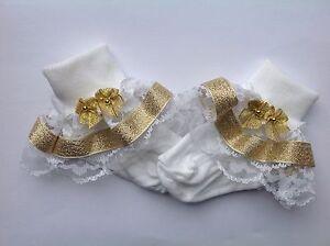 Handmade Gold bead bows baby/ girls frilly socks various sizes
