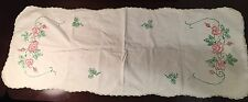 "Hand Run 38"" Antique Vtg Lace Dresser Scarf Runner Doily Panel Painted Rose #389"