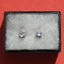 Elegant White Gold Plated Earrings With Sapphire 2.4 Gr.1.4 x 0.9 Cm.Wide In Box
