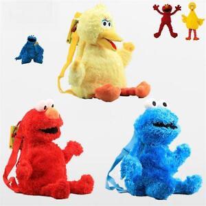 Kids Backpack Sesame Street ELMO COOKIE MONSTER BIG BIRD Shoulders Bag Doll Toy