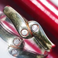14k 585 yellow gold swirl ring 0.06ct white topaz size 6.5 vintage handmade 1.7g