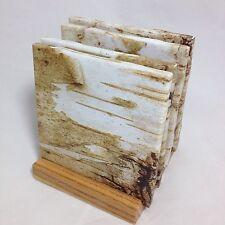 "HANDMADE ""Birch Bark"" Drink Coasters | SET OF FOUR | The Coaster Attic"