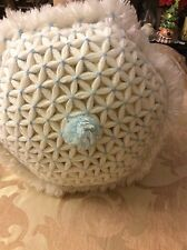 """New 12"""" Handmade Crochetted Pillow Sham With Pillow Light Blue With White."""