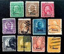 1929 US Stamps SC #658-668 Kansas Overprint Complete Used Set CV:$174