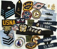 Nice  HUGE lot  - US Navy  patches,Badges,bottoms & Ranks.